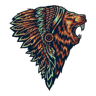 Vector illustration of native american lion