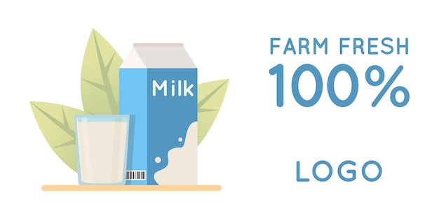 Vector illustration of natural dairy products ecological concept for stickers banners postcards