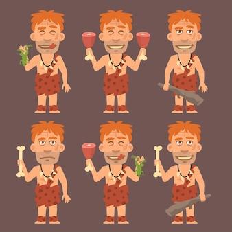 Векторная иллюстрация, неандерталец держит лягушачье мясо и дубину, формат eps 10