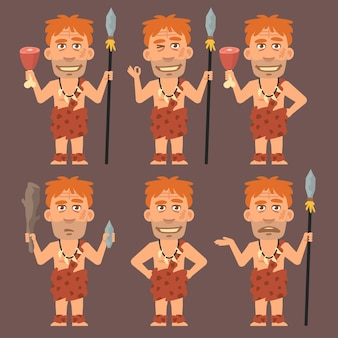 Векторная иллюстрация, неандерталец держит мясо и оружие, формат eps 10