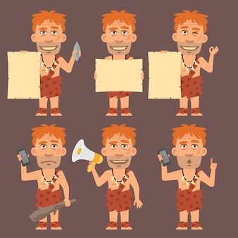 Vector illustration, neanderthal holds paper phone and megaphone, format eps 10
