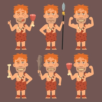 Vector illustration, neanderthal holds weapons bone and meat, format eps 10