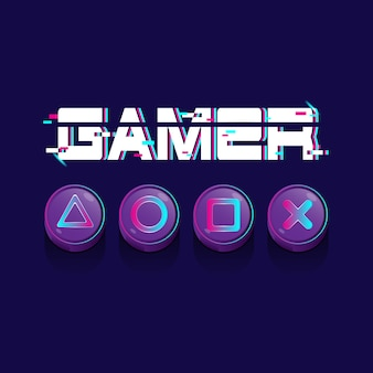 Vector illustration neon color for gamer with play button on dark