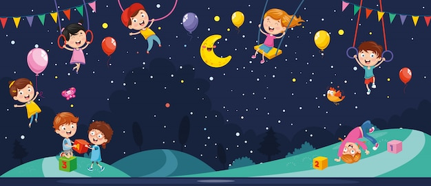 Vector illustration of night scene