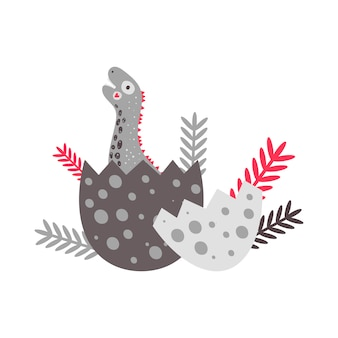 Vector illustration. nursery cute print with dinosaur diplodocus. happy birthday. hatching an egg. for children's t-shirts, posters, banners, greeting cards.
