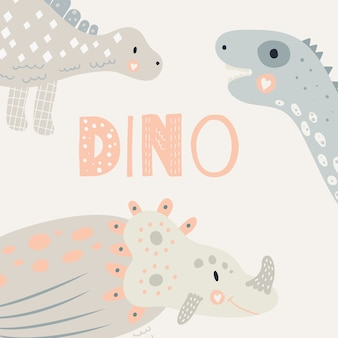 Vector illustration. nursery cute print with dinosaur. triceratops, diplodocus, stegosaurus. pastel color. for children's t-shirts, posters, banners, greeting cards.