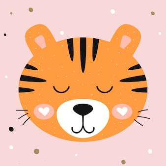 Vector illustration. nursery cute tiger on pink background. print for kids t-shirts, clothes, greeting cards.