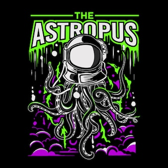 Vector illustration of an octopus astronaut