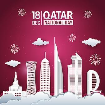 도시의 스카이 라인과 12 월 18 일 카타르 국경일 축하의 벡터 일러스트 레이션