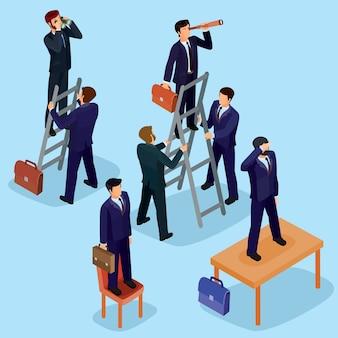 Векторные иллюстрации 3d плоских изометрических людей. концепция бизнес-лидера, ведущего менеджера, генерального директора.