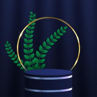 Векторная иллюстрация трехмерного цилиндрического подиума с золотыми кругами и листьями