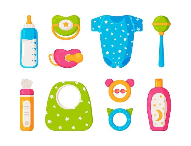 베이비 케어 및 플레이 키트의 벡터 그림입니다. 아기 키트. 아기 키트: 아기띠, 젖꼭지, 장난감, 딸랑이, 분말, 턱받이, 샴푸 및 우유. 컬러 아기 아이콘