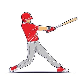 ボールを打つ野球選手のベクトル図