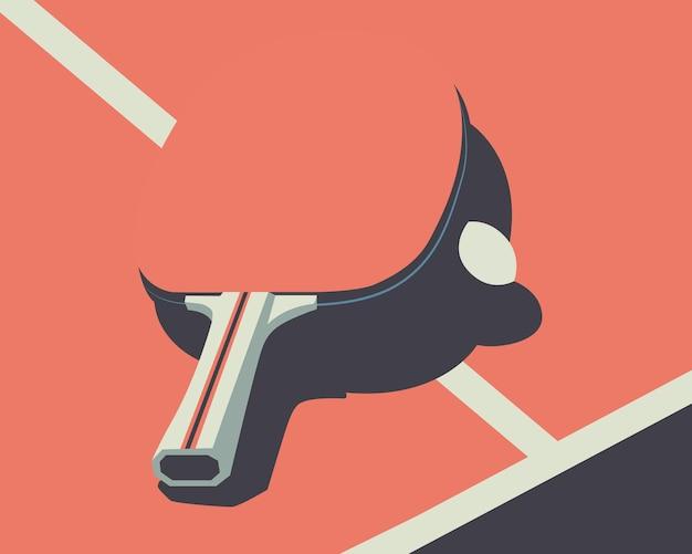 卓球台のコウモリとピンポン球のベクトル図