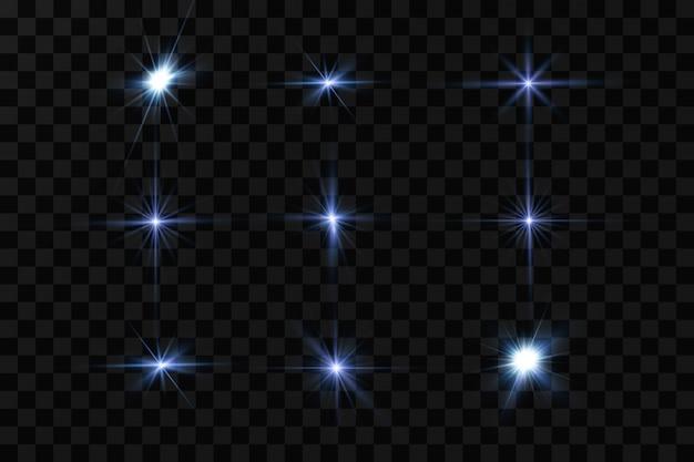 青い色のベクトルイラスト。グロー光の効果。ベクトルイラスト。クリスマスフラッシュ。ほこり、輝く太陽、明るいフラッシュ。