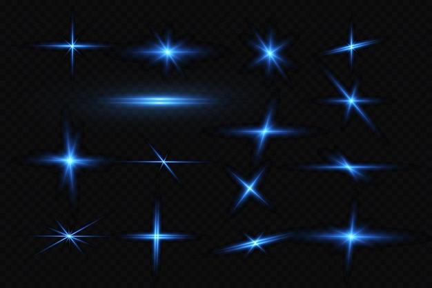 青い色のベクトル図光の効果光の抽象的なレーザー光線混沌としたネオン光線