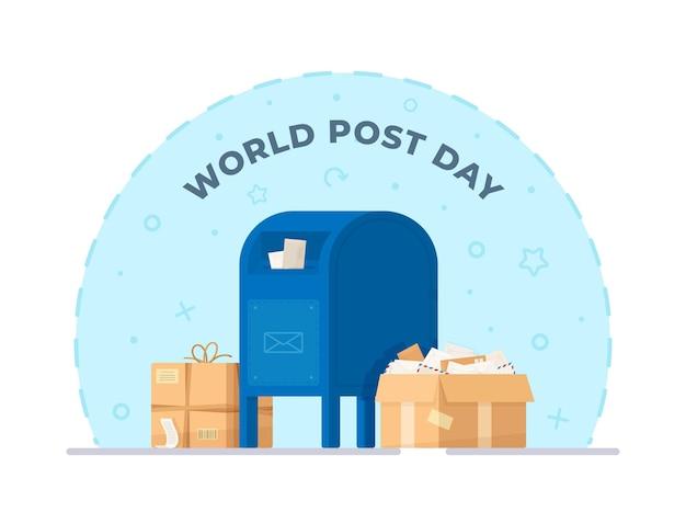 Векторная иллюстрация синий почтовый ящик с ящиком, заполненным листами, конвертами, посылками. праздник столба дизайна изолированный на белой предпосылке.