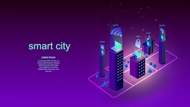 スマートシティの要素を持つ建物のベクトルイラスト。科学、未来、ウェブ、ネットワークコンセプト、コミュニケーション、ハイテク。 eps10。