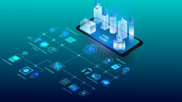 スマートホームシステムの要素を持つ建物のベクトルイラスト。科学、未来