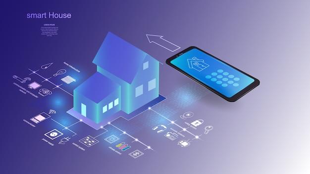 Векторная иллюстрация здания с элементами системы умный дом. наука, футуристический