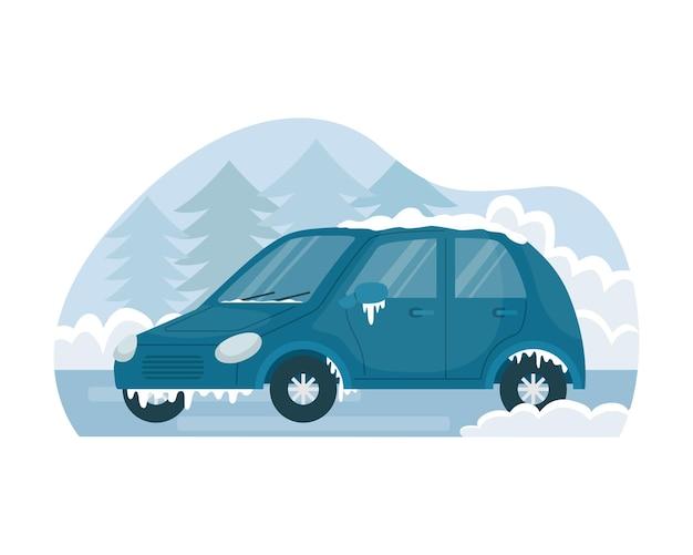 Векторная иллюстрация автомобиля, замороженного зимой на улице.