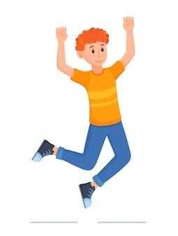 기쁨을 위해 점프하고 팔을 흔드는 캐릭터의 벡터 그림. 한 젊은이가 승리의 기분으로 주먹을 꽉 쥐고 있습니다. 남자의 적극적인 포즈입니다.