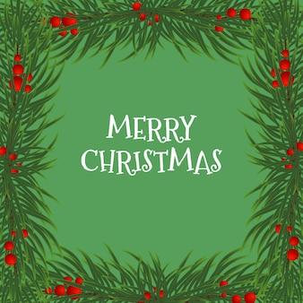モミの枝とヒイラギの果実のフレームとクリスマスカードのベクトルイラスト