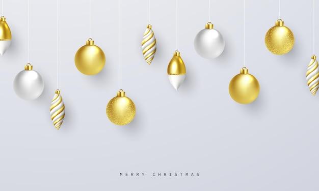 인사말 카드에 대 한 사치 스러운 황금 크리스마스 공 크리스마스 축 하 배경의 벡터 일러스트 레이 션.