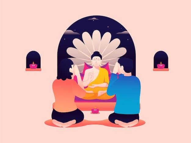 Векторная иллюстрация пары, поклоняющейся статуе будды