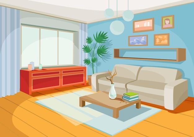 집 방, 거실의 아늑한 만화 인테리어의 벡터 일러스트 레이션