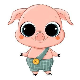 Векторная иллюстрация милый мультфильм свинья с большими глазами в зеленом комбинезоне изолированы