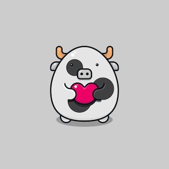 愛、ロマンチック、バレンタインデーのイベントに適したピンクのハートの形のシンボルを保持しているかわいいかわいい牛のキャラクターのベクトルイラスト。