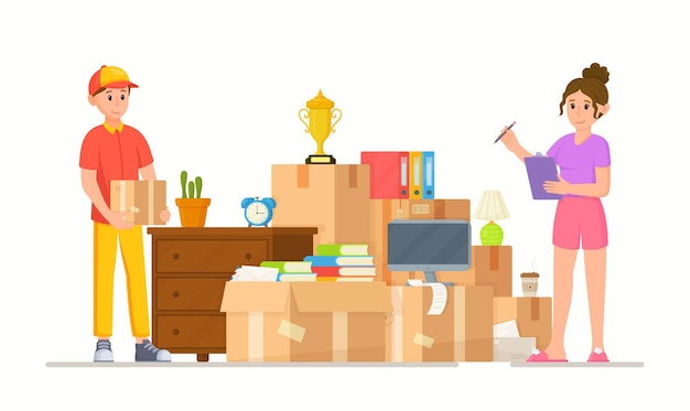 배달 서비스의 벡터 일러스트 레이 션. 다른 집이나 아파트로 이사. 상자와 가정 용품의 더미입니다. 화분에 심은 식물, 책, 가구 및 기타 물건.