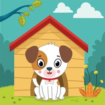 犬と彼の家のベクトルイラスト