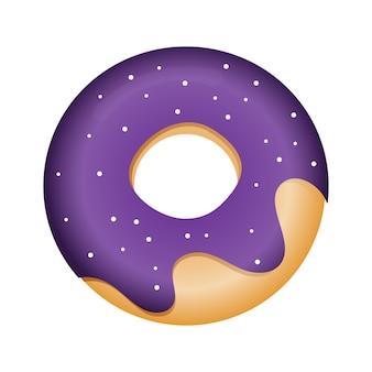 紫色の釉薬のドーナツのベクトル図