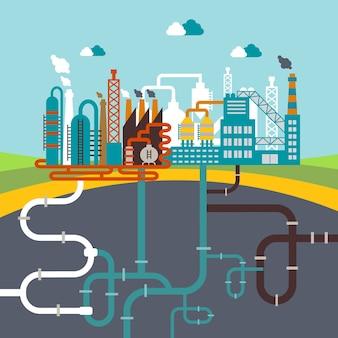 Векторная иллюстрация завода по производству продукции или нефтеперерабатывающего завода по переработке природных ресурсов с сетью прикрепленных труб