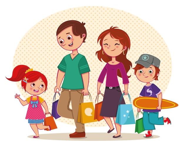 Векторная иллюстрация семьи, идущей по магазинам