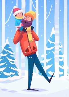 아버지와 그녀의 딸 또는 아들이 숲에서 산책의 벡터 일러스트 레이 션. 눈 풍경 배경입니다. 평면 벡터 재고 일러스트입니다.