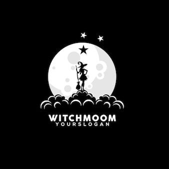 Векторная иллюстрация женщины-ведьмы, смотрящей на луну