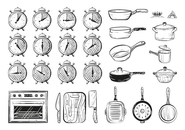 음식 준비 시간의 벡터 일러스트 레이 션 주방 용품의 스케치 세트 타이머 0 5 10 15