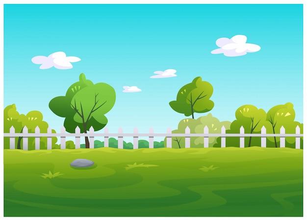 緑の芝生と庭の木のベクトルイラスト