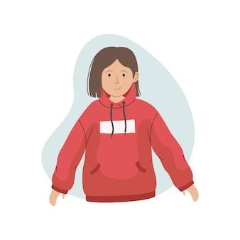 Векторная иллюстрация девушки в розовой толстовке с капюшоном. зимняя одежда.