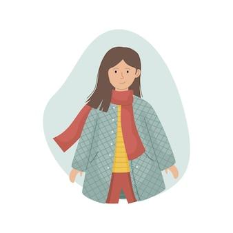 Векторная иллюстрация девушки в синтепоновом пальто и вязаном шарфе. зимняя одежда.