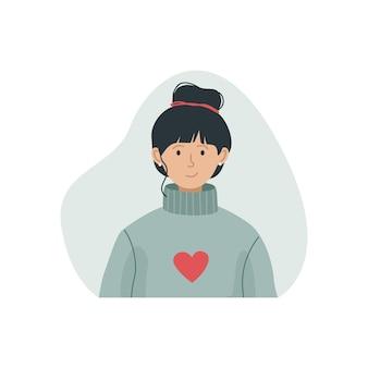 Векторная иллюстрация девушки в теплом вязаном свитере с высокой шеей. зимняя одежда.