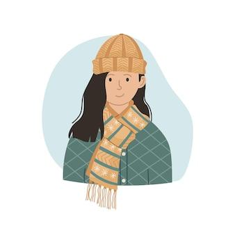 Векторная иллюстрация девушки в зимней вязаной шапке и шарфе. зимняя одежда.