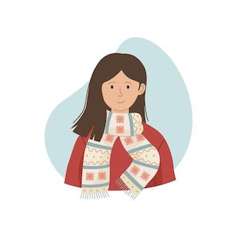 Векторная иллюстрация девушки в зимнем вязаном шарфе. зимняя одежда.