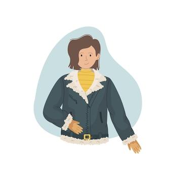 Векторная иллюстрация девушки в зимней дубленке с мехом. зимняя одежда.
