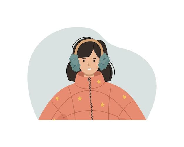 Векторная иллюстрация девушки в зимней куртке синтепон, меховые наушники. зимняя одежда.