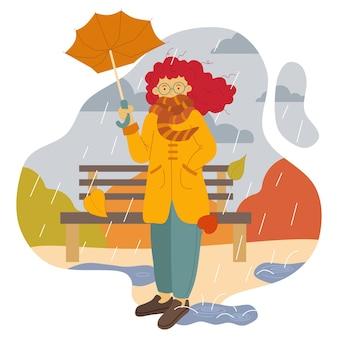 쏟아지는 가을 비에 안경을 쓰고 부러진 우산을 쓴 소녀의 벡터 그림