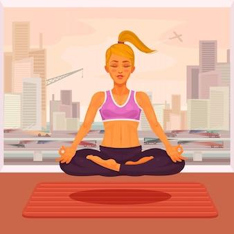 Векторная иллюстрация девушка йоги в позе лотоса